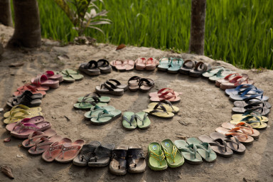 Decorated shoes of BRAC school's students at outside the class room in Binoderpara village of Jamalpur district.