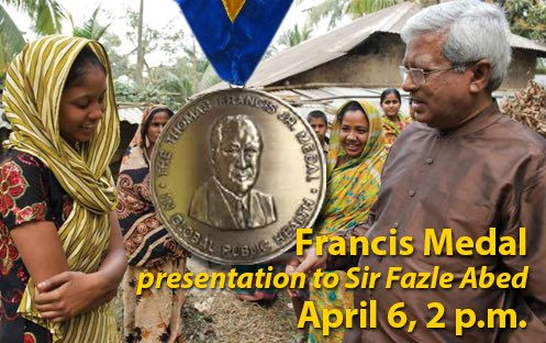 Sir Fazle Hasan Abed Receives Thomas Francis, Jr. Medal in Global Public Health